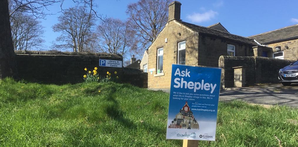 Ask Shepley sign in Shepley village